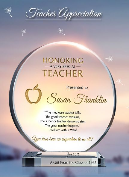 Teacher Appreciation Gift Plaques Teacher Gifts Pinterest   Excellence  Award Wording  Excellence Award Wording