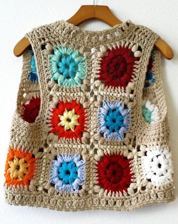 Vintage Handmade Crochet 1970\'s Granny Squares Bright Colorful Vest ...