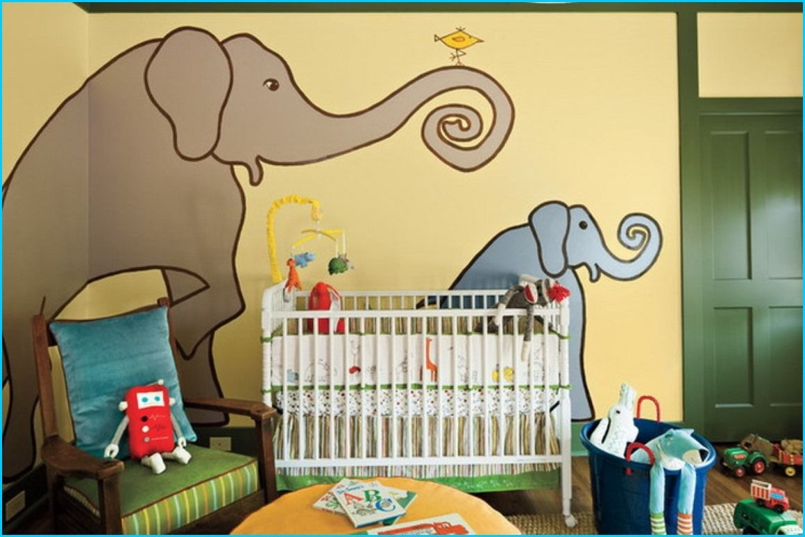 Elephant Cartoon Murals in Eclectic Kids Bedroom ideas ...
