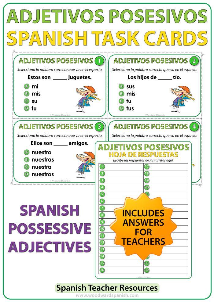 Spanish Possessive Adjectives Task Cards Adjetivos