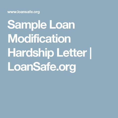 Sample Loan Modification Hardship Letter LoanSafeorg