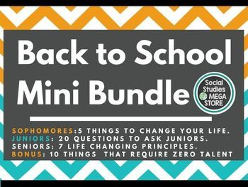 to School Ice Breakers If you are looking for fun icebreakers to do during the first days of class, this Back to School Mini Bundle 3 Introductory Reminders for your 10th, 11th, and 12th graders are great for your Social Studies, History or World History students.If you are looking for ...