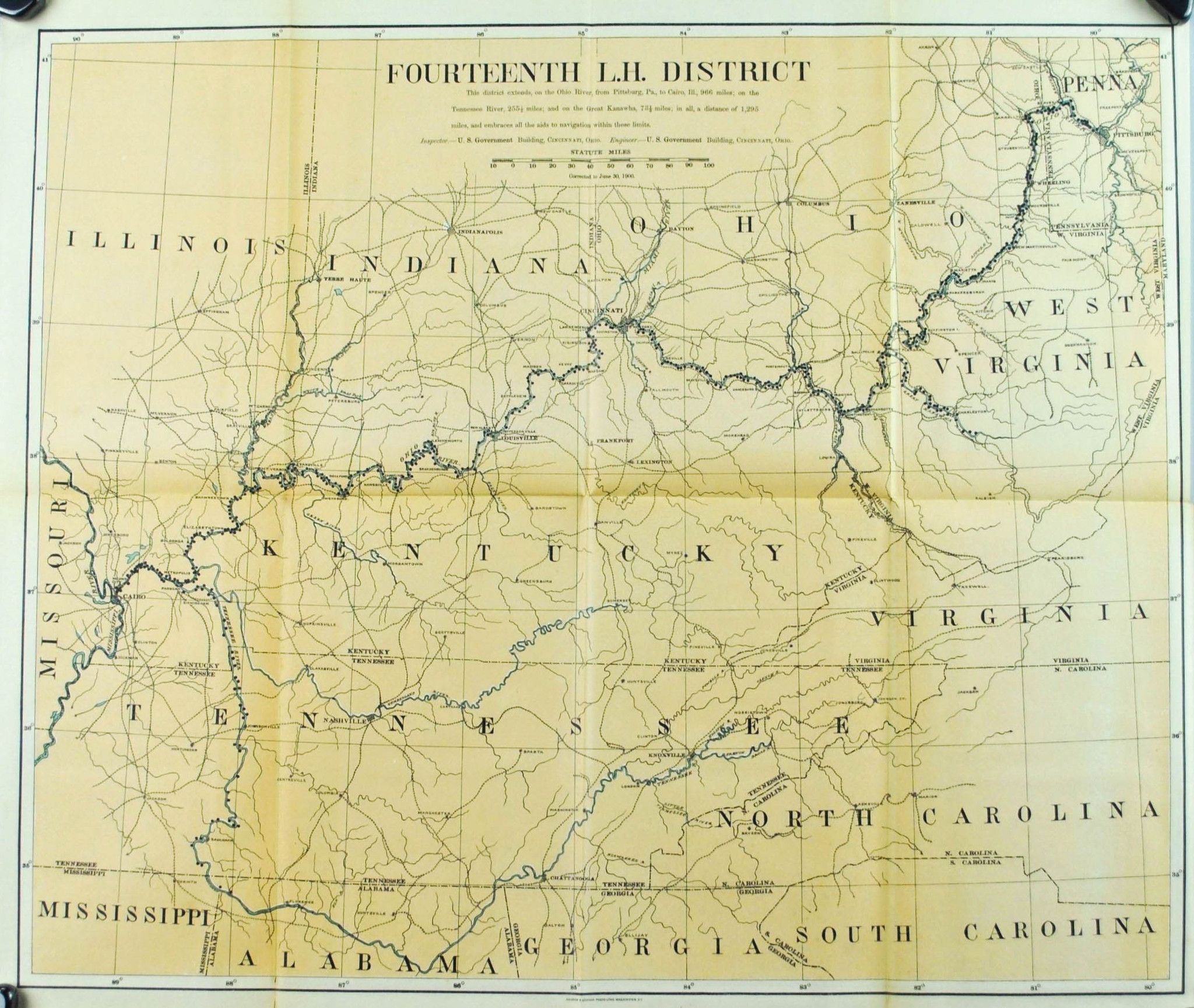 Lighthouse Ohio River Antique Map 1900 Lighthouse