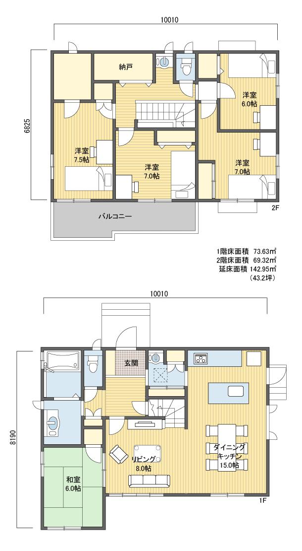 32坪の間取り 2階ldk 畳コーナーです 浴室まわりと寝室を1