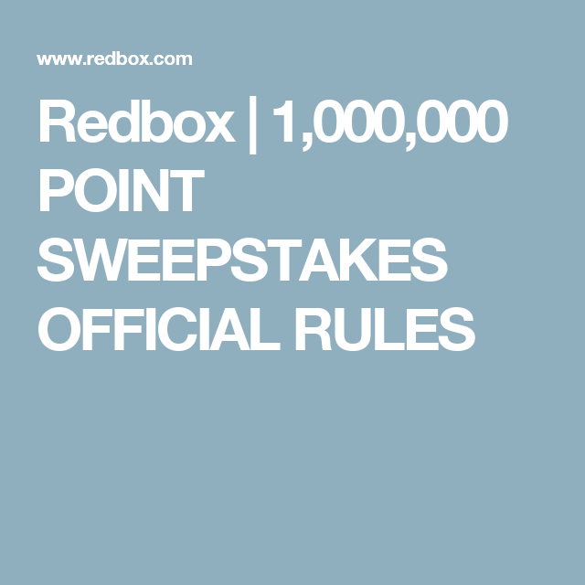Redbox sweepstakes