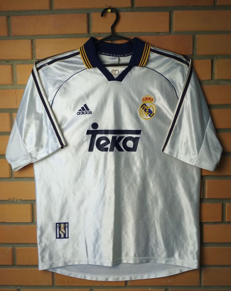3c6b2f620 Real Madrid Home football shirt 1998 - 2000 adidas jersey soccer size large  rare (eBay Link)