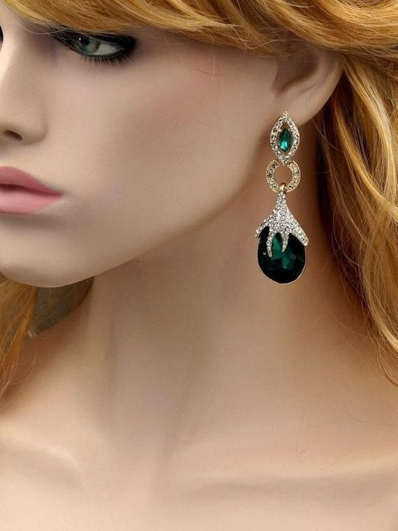 f4012920dd 18K Gold Plated GP Emerald Green Crystal Rhinestone, Prom Earrings ...