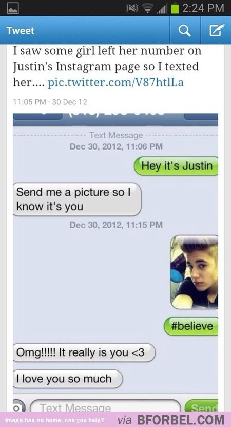 It's so easy to trick a Justin Bieber fan…OMG SO FUNNY