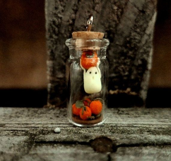 Halloween Ghost Bottle Charm Ghost and Pumpkin Patch Ghost Diorama Tiny Ghost Clay Halloween Decor Glow in the Dark Ghost Charm Halloween