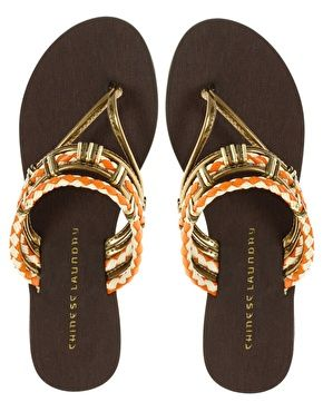 Ethnick gold and orange sandals / Chinese Laundry