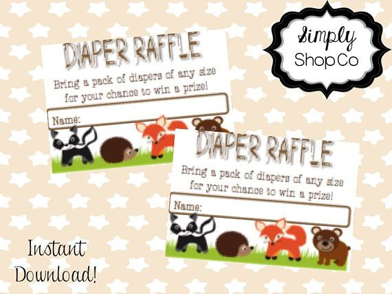 Woodland Critter baby shower diaper raffle, tickets, printable, you