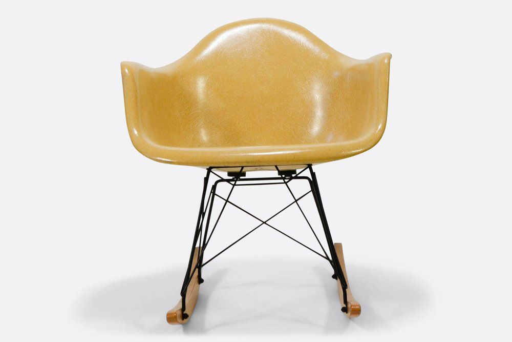 Vintage Eames Light Ochre Fiberglass Rocking Chair Vintage Eames Eames Fiberglass Chair Eames