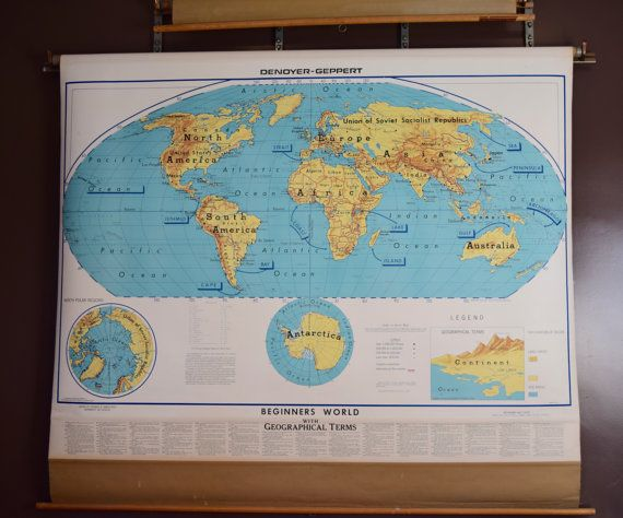 Vintage Map, World Map, Pull Down Map, Large Industrial Wall ... on