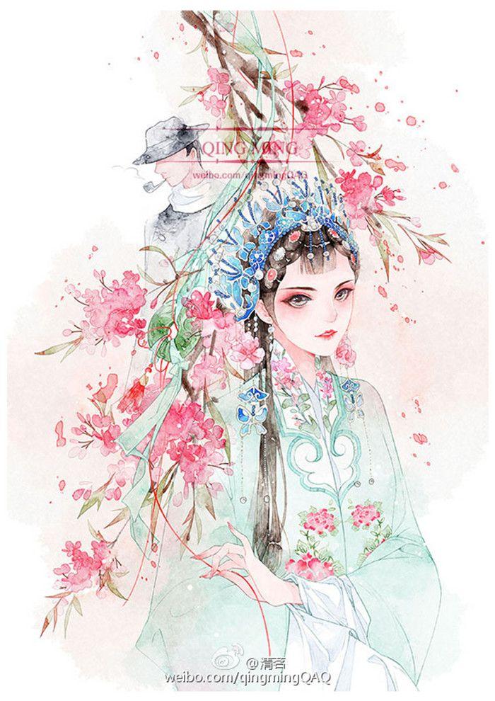 青衣-清茗_原创,插画,水彩,古风_涂鸦王国插画