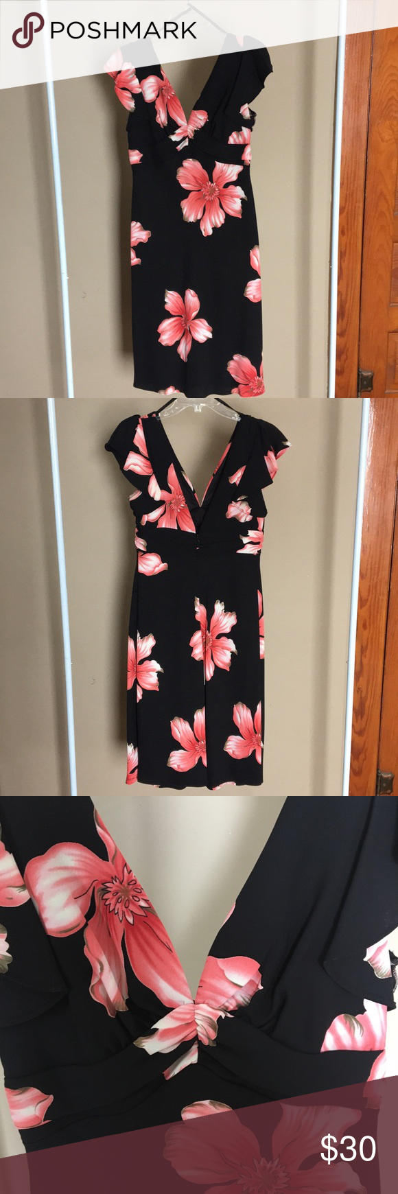 Euc S L Fashions Floral Dress Euc Beautiful Black Dress With Coral And White Flowers Backless With Split Cap S Beautiful Black Dresses Fashion Floral Dress [ 1740 x 580 Pixel ]