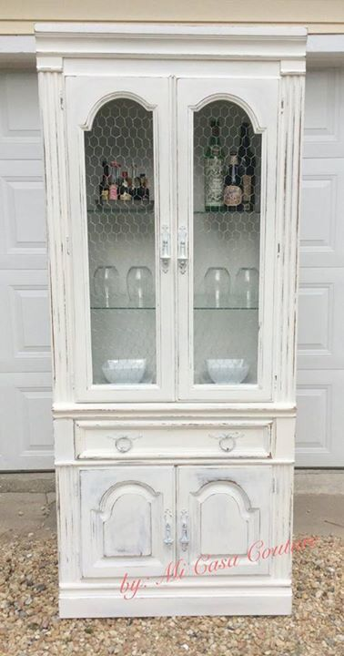 Beautiful Lighted Country-Chic China Cabinet/ Liquor Cabinet Painted ...