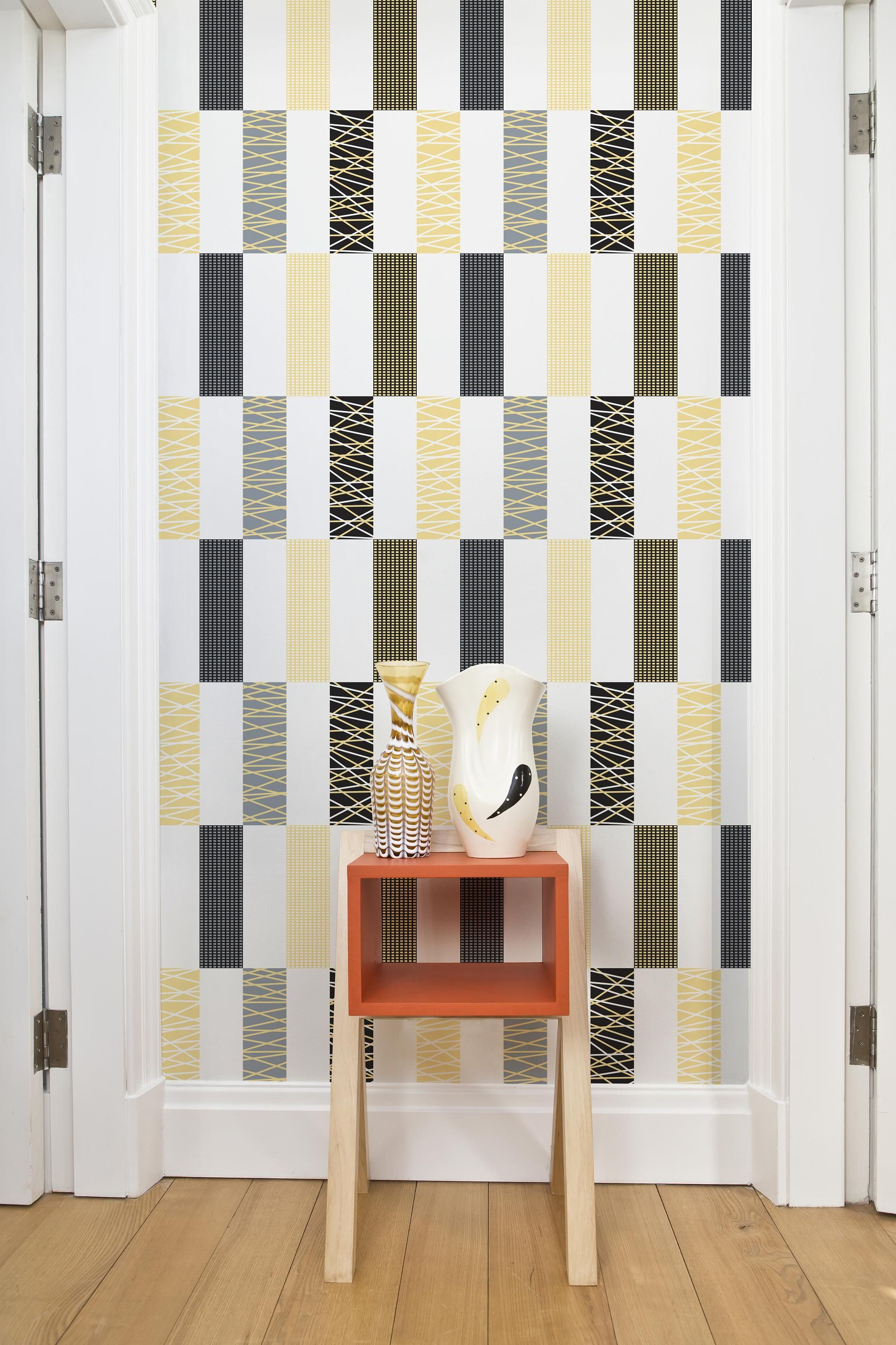 Rectangle Grid Wallpaper From Layla Faye One Of Two Wallpaper Selections To Try Grid Wallpaper Printed Shower Curtain Designer Wallpaper