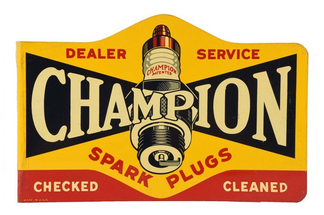 "12/"" CHAMPION SPARK PLUG DECAL TO MAKE SIGN MAN CAVE STATION GASOLINE PUMP"