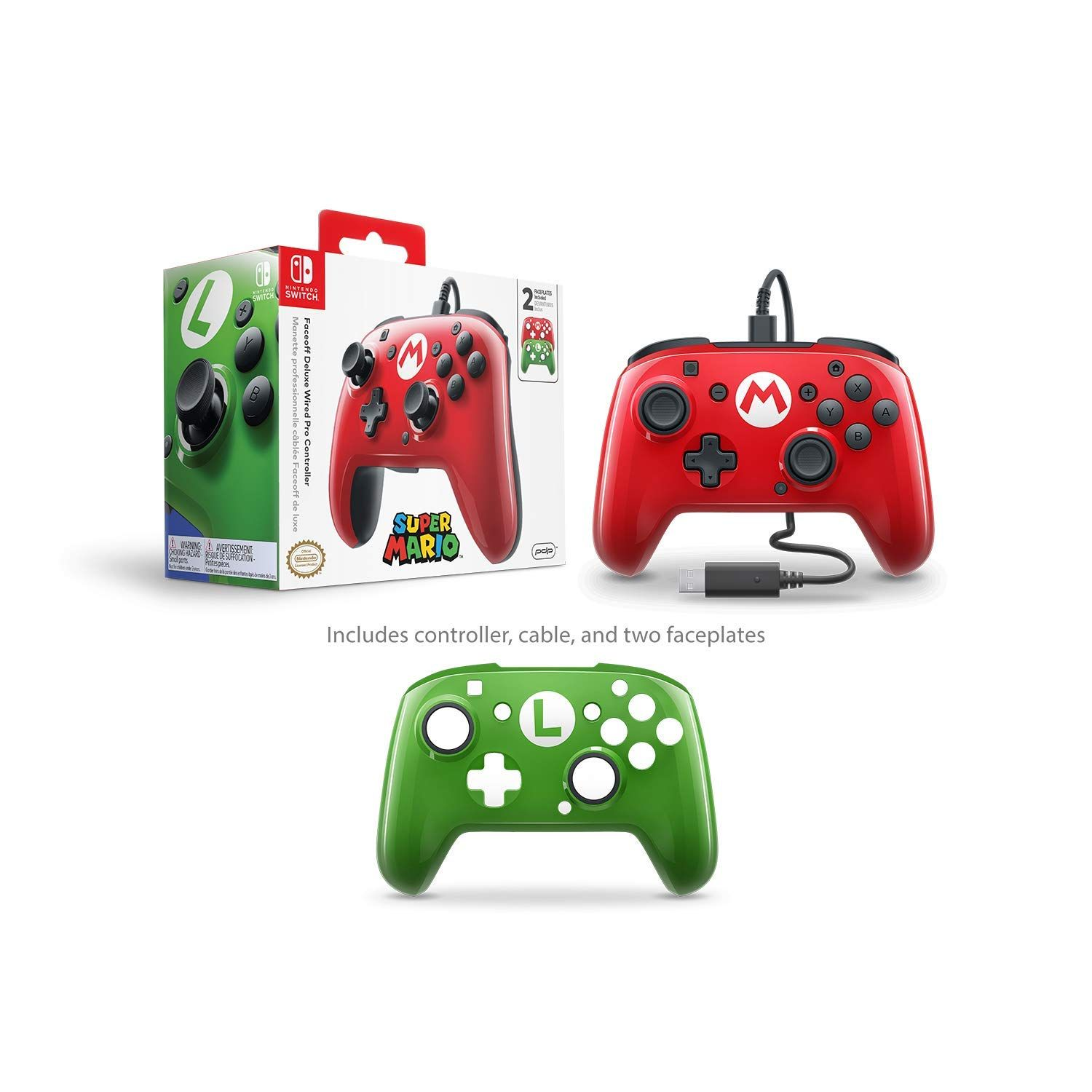 Pdp Nintendo Switch Faceoff Wired Pro Controller With 2 Super Mario Controller Faceplates Faceoff Wired Nintendo Switch Nintendo Switch Super Mario Nintendo