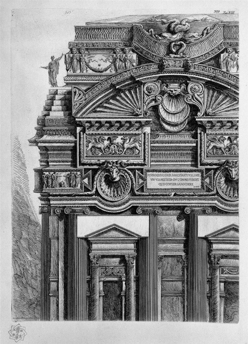 A frieze with architrave, column, two capitals, a bed, a shelf and two terracotta - Giovanni Battista Piranesi - WikiArt.org