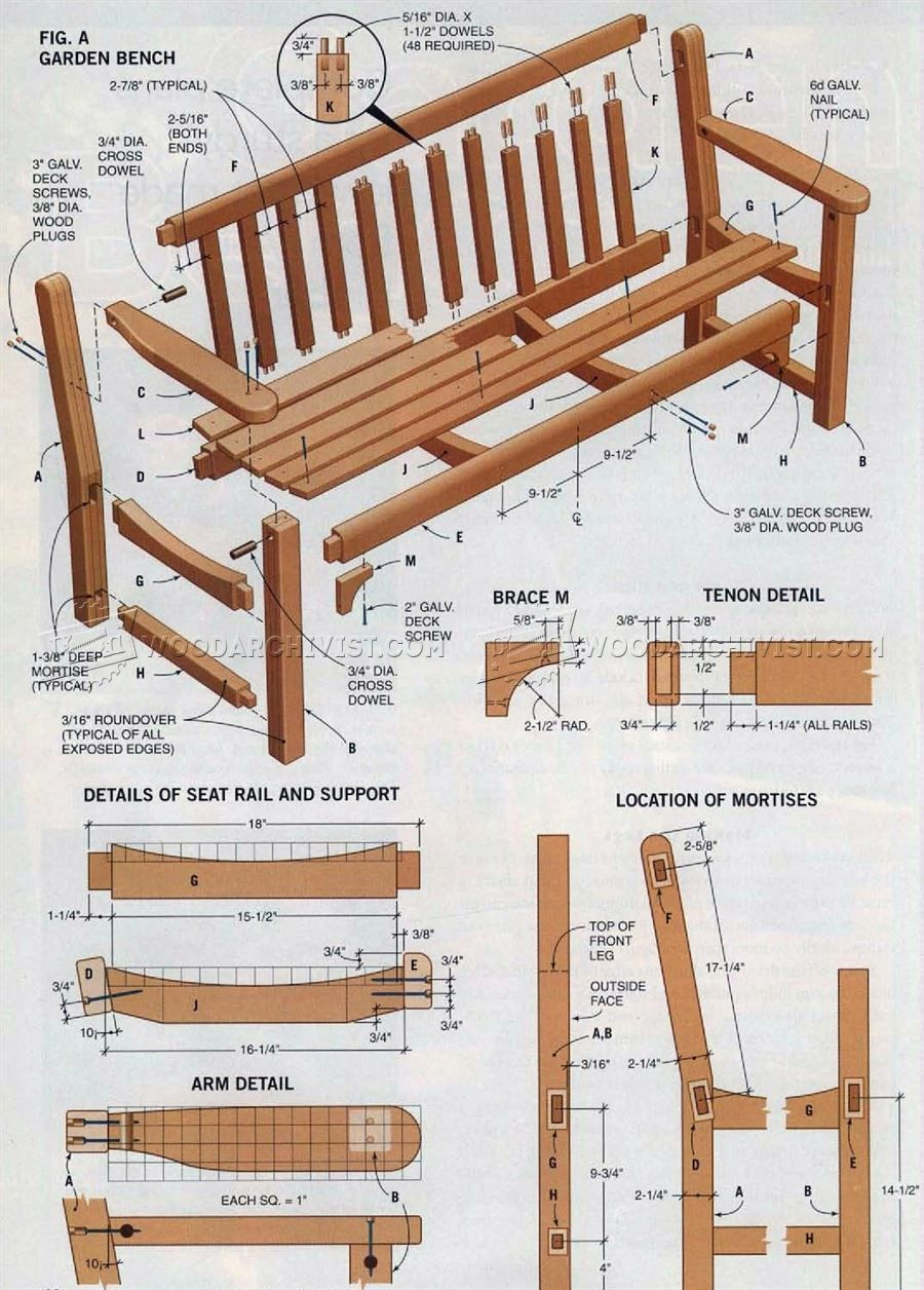 2037 Garden Bench Plans Outdoor Furniture Plans
