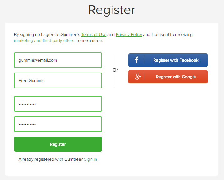 Register on gumtree