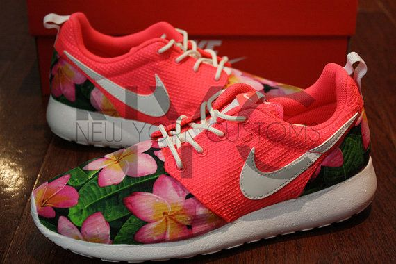 Nike Roshe Run Pink Glow Glow in the Dark Frangapani by NYCustoms