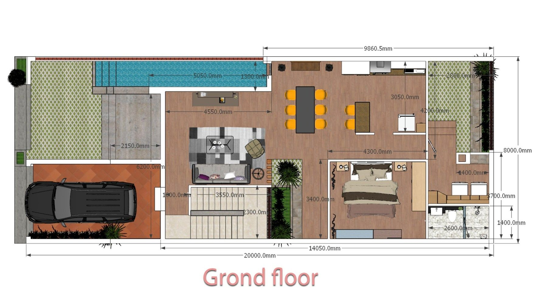 House Plans 8x20m With Full Plan 4beds Sam House Plans House Plans House Design Modern Small House Design