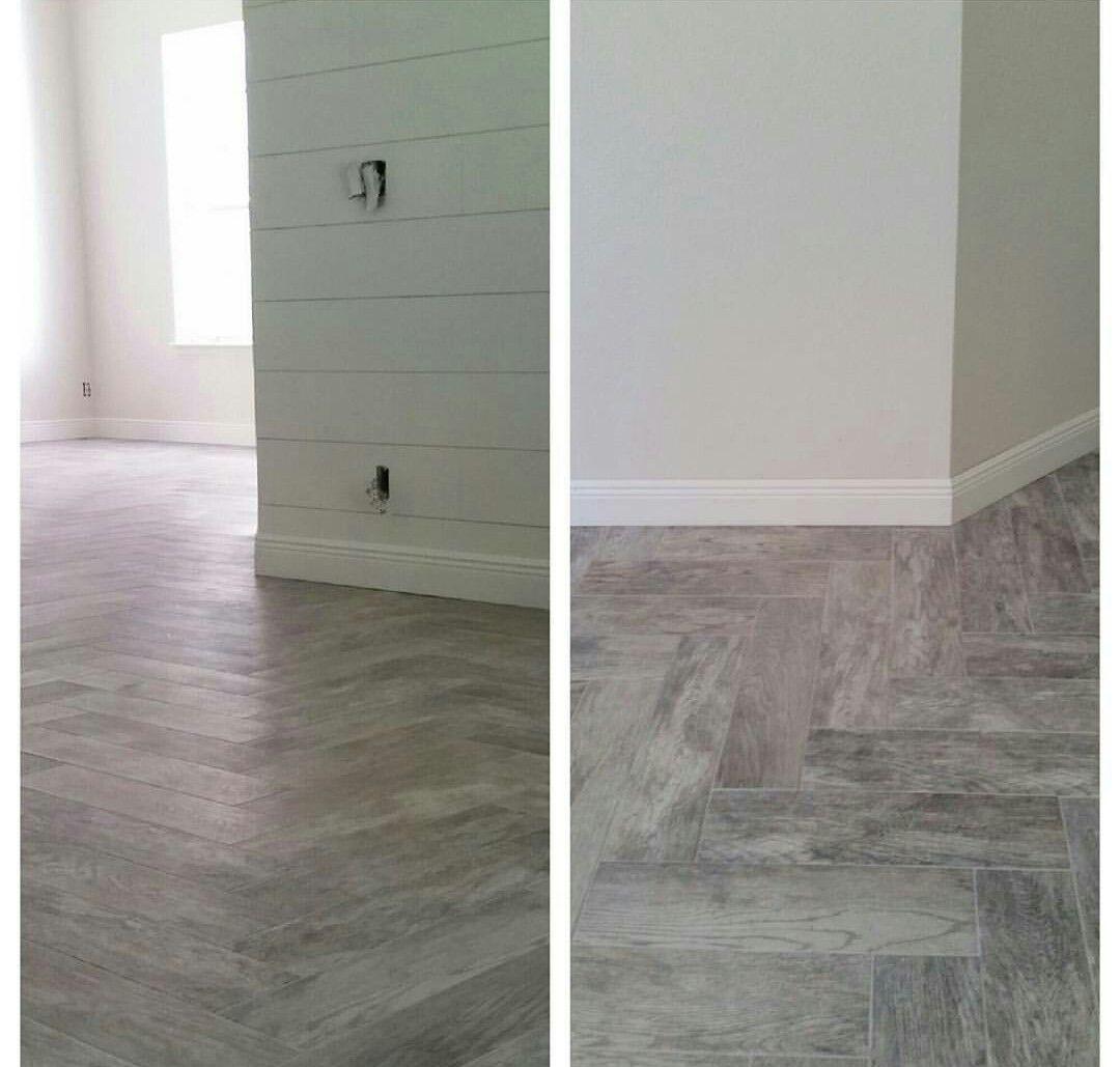 Wood-look Tile. Herringbone Pattern. Marazzi Montagna
