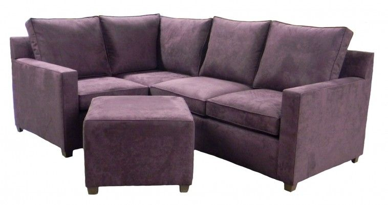 Purple Small Apartment Size Sectional Sofa Covered With Solid Color