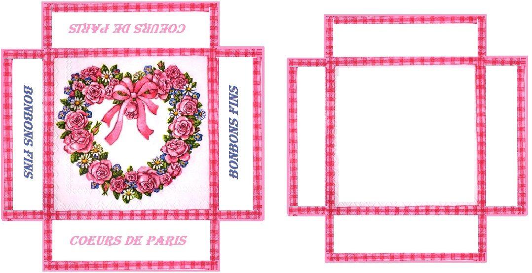 boîte carrée cœur rose création Pascale Appiani