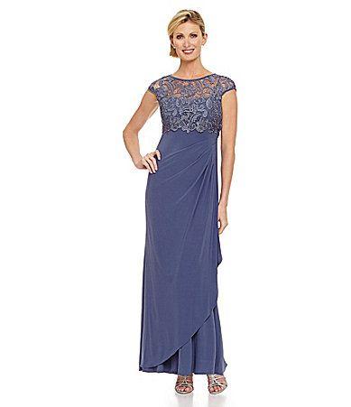 J Kara Womens Plus Size Sweet Heart Neck Long Dress with Beads