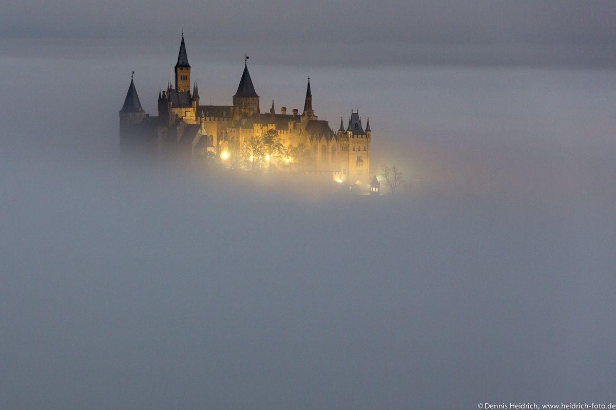 Night Full Moon Fog And Castle Hohenzollern Hogwarts Aesthetic Castle Photo