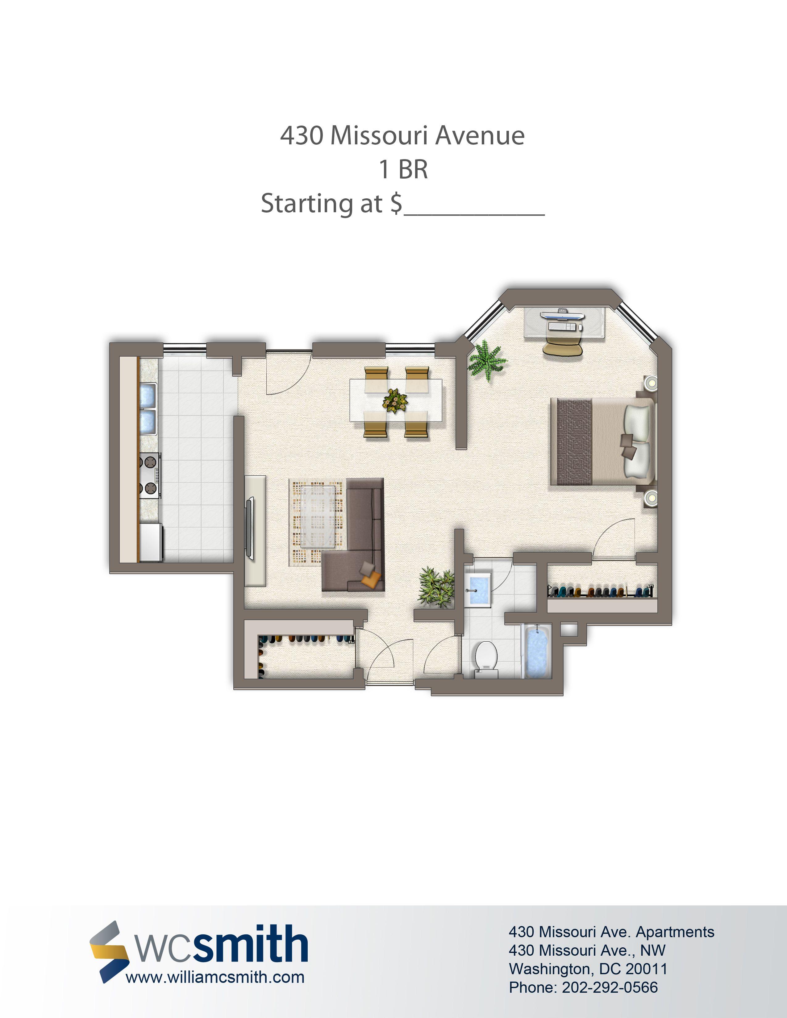 One Bedroom Floor Plan 430 Missouri in Northwest
