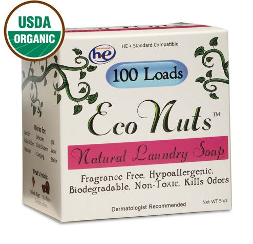 Eco Nuts: These little organic berries grow in the Himalayas and naturally produce a soap called saponin that penetrates fibers. Great for people with sensitive skin, these soap nuts don't suds up like detergents with artificial foaming agents, but clean well just the same. Eco Nuts are deseeded and treated with a nontoxic sanitizing treatment before packaging to kill any harmful bacteria that could be lingering on the berries.