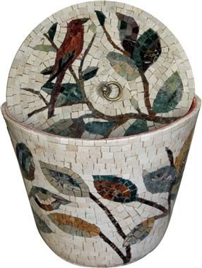 Marble mosaic basket- adding style to your bathroom - Birds Mosaic Patterns | #Mozaico