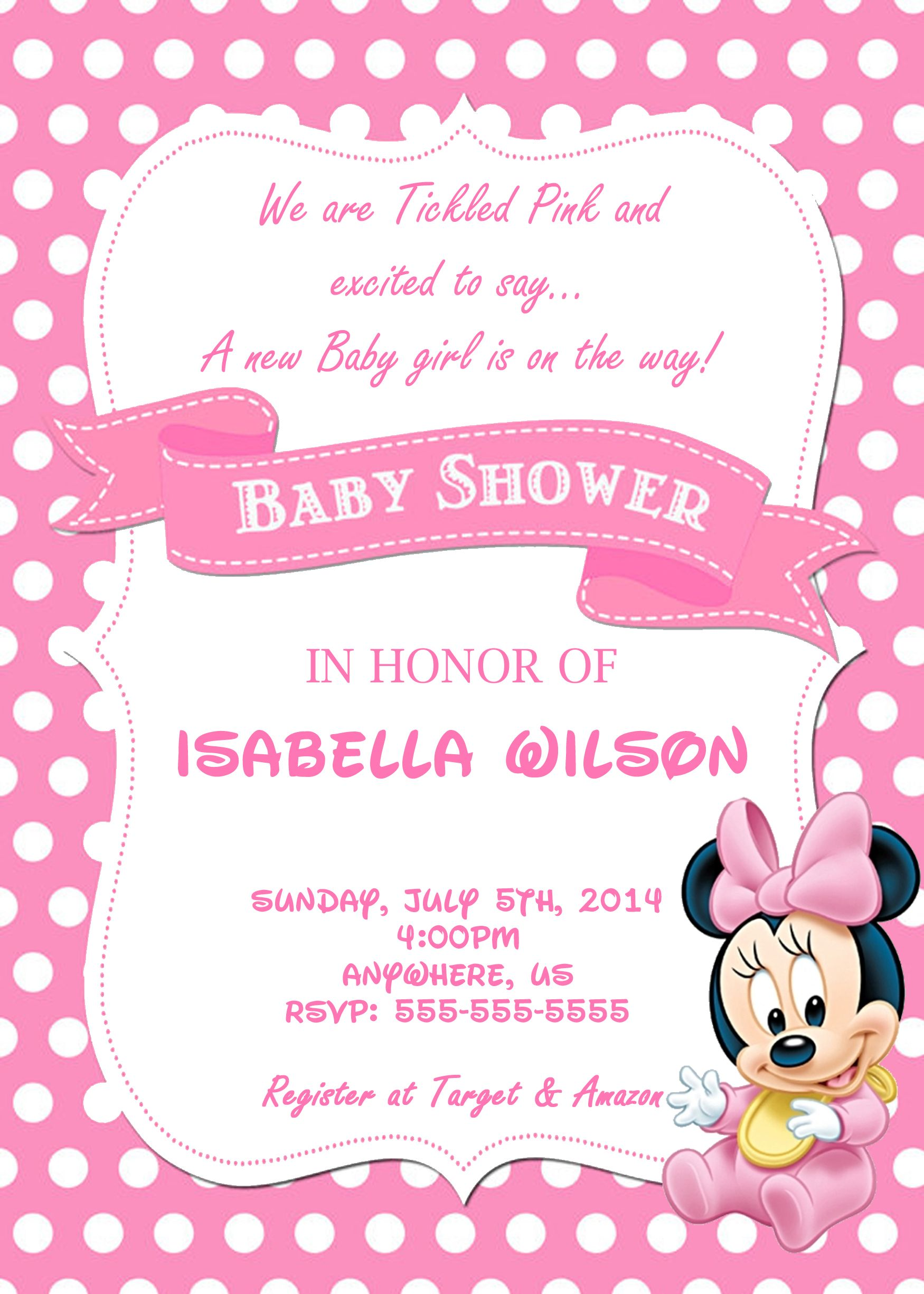 Minnie Mouse Baby Shower Custom Invitations 8 50