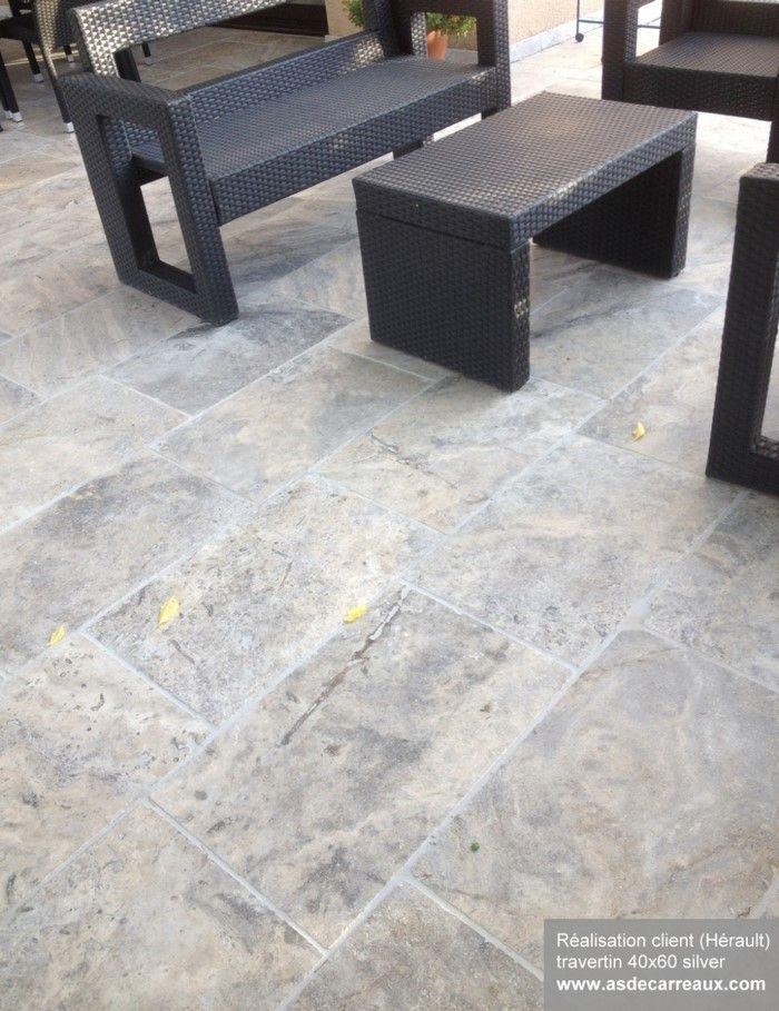 Produit utilisé : travertin 40x60 silver gris réalisation dune ...