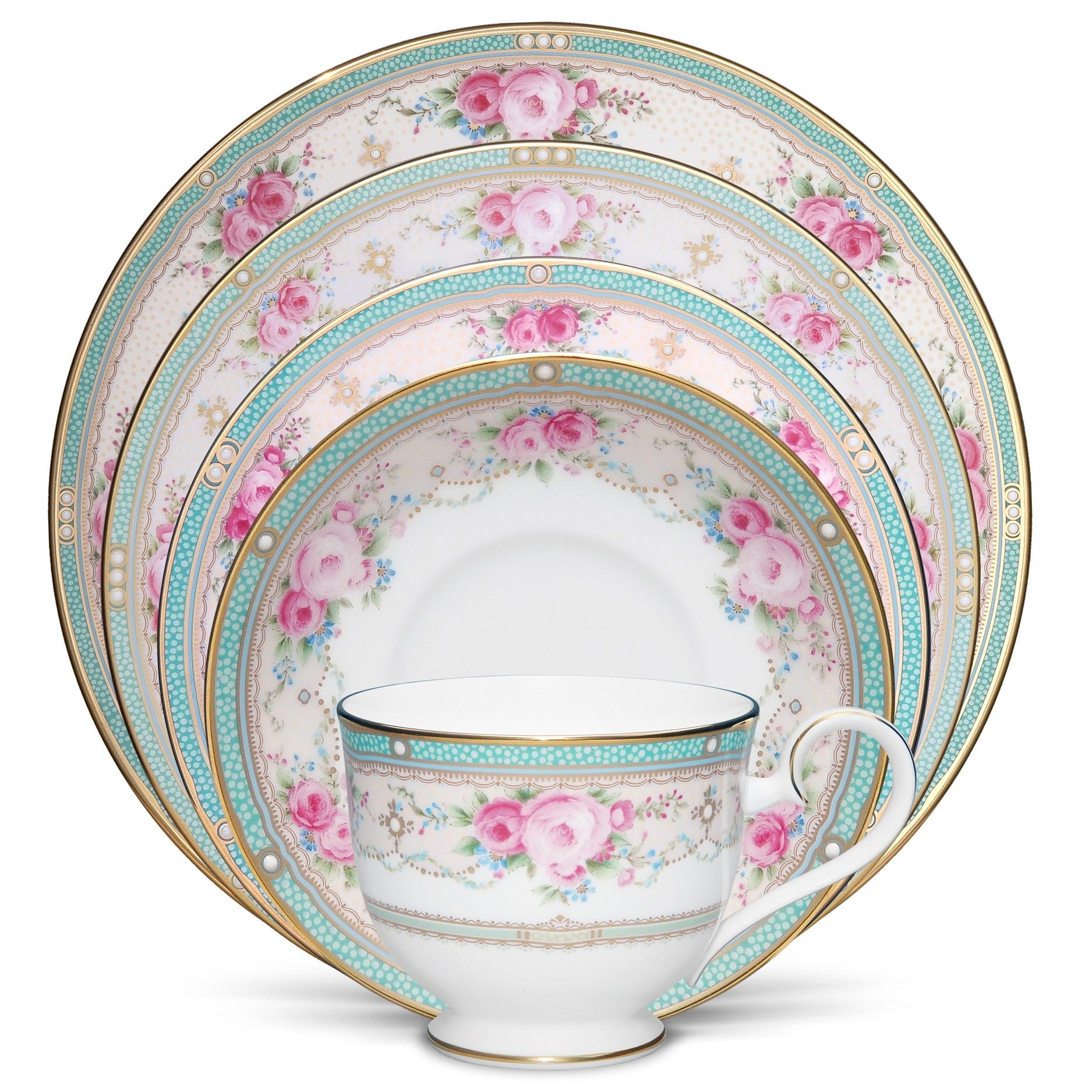 Nice This Is My Favorite China Pattern Now.  Noritake Palace Rose 5 Piece Place