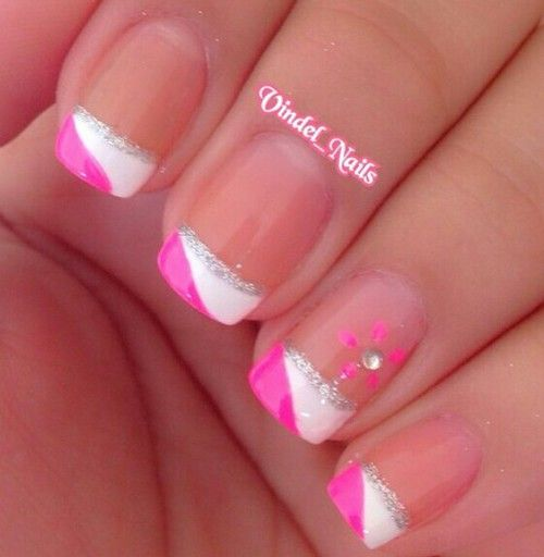 Pink White Silver French Tip Nails French Tip Nail Designs French Tip Nails French Nail Designs