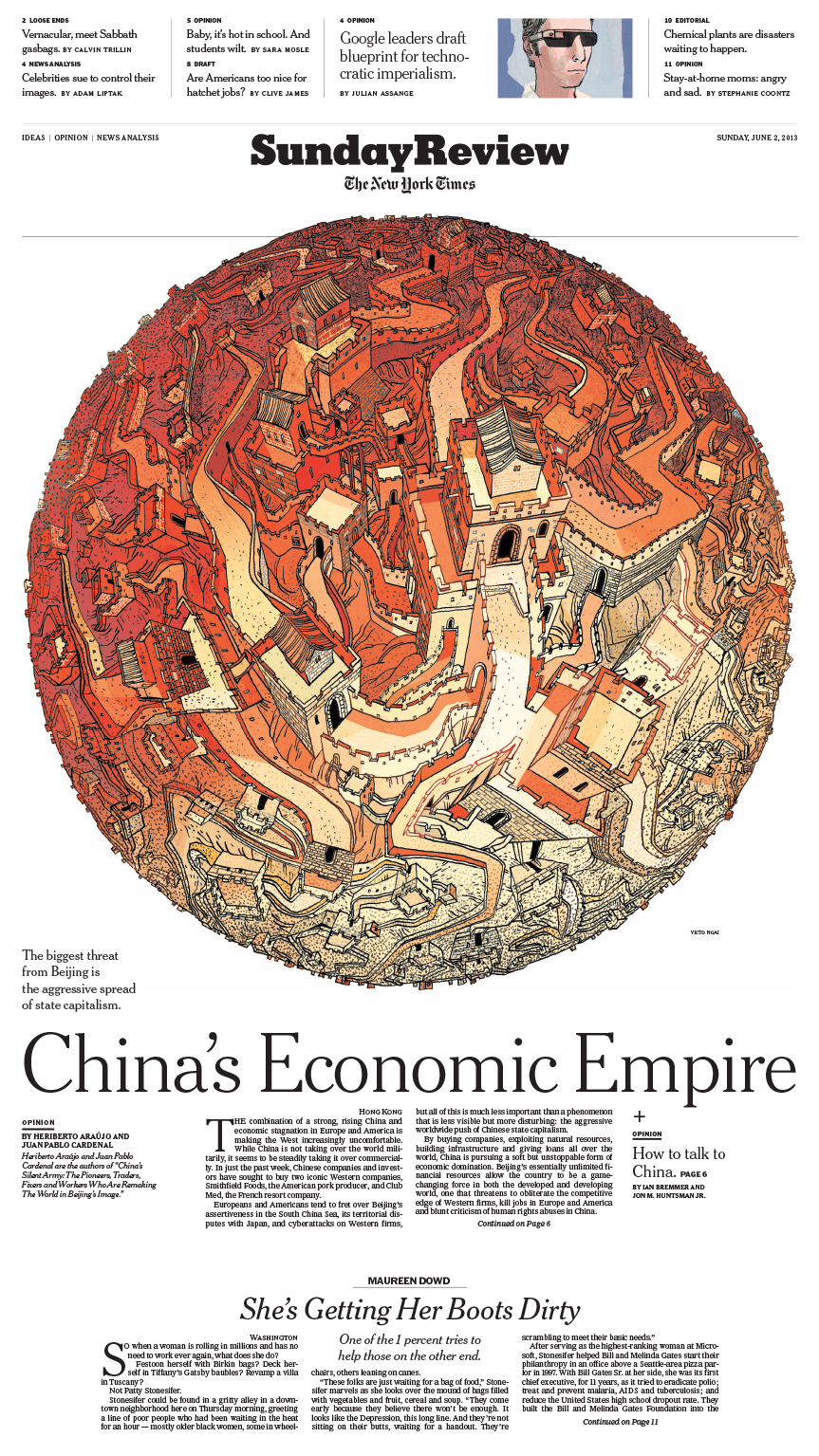 Sunday Review Cover: China's Economic Empire - art direction & design by Aviva Michaelov & illustration by Victo Ngai
