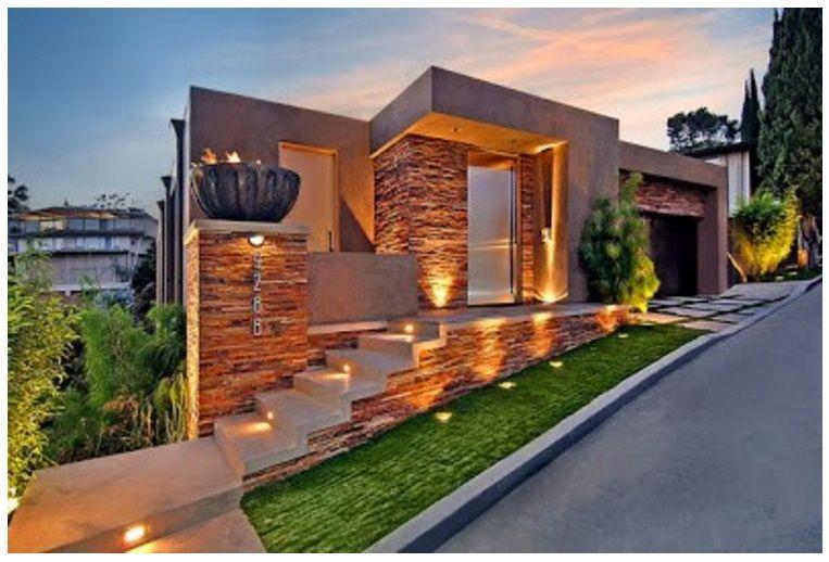 Fachada de casa en desnivel casas pinterest casa en for Casas de campo modernas minimalistas