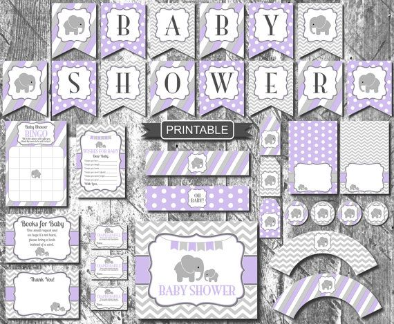27 PDF Printable Files Purple Elephant One Year Party Printables  - Instant Digital Download