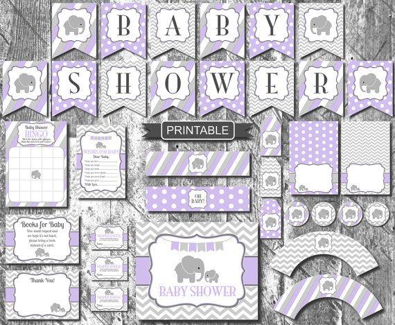 Lavender Purple Grey Elephant Girl Baby Shower By CreaseAndCut