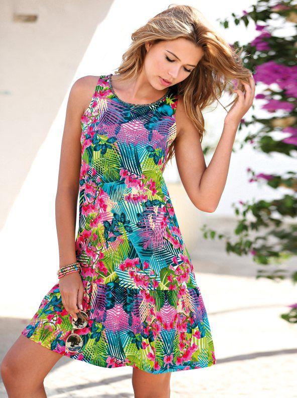 Vestido Mulher Sem Mangas Estampado Tropical Com Folho Na Base Vestidos Para Chicas Vestidos De Moda Ropa De Moda