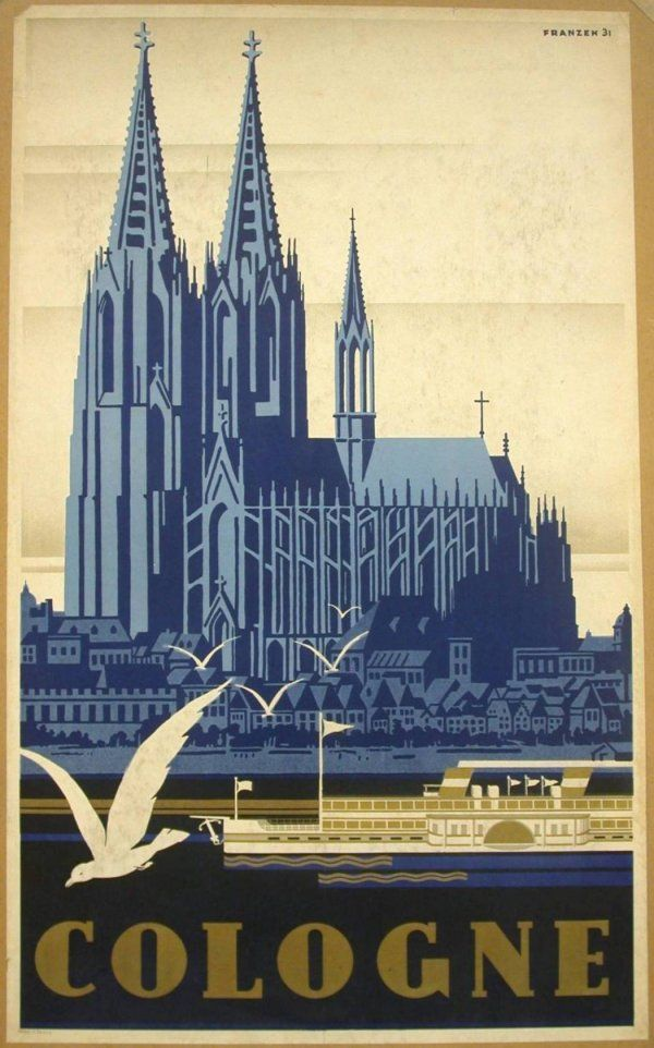 vintage travel poster k ln cologne the cathedral of cologne germany pinteres. Black Bedroom Furniture Sets. Home Design Ideas
