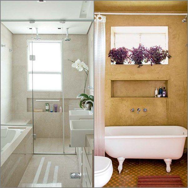 banheiro com banheira 1 Banheiros Decoraç u00e3o banheiro ideias, Banheira de alvenaria e  -> Decoração Banheiro Pequeno Com Banheira