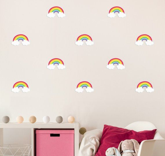 mini rainbow wall decals - fabric & reuseable in 2019 | products