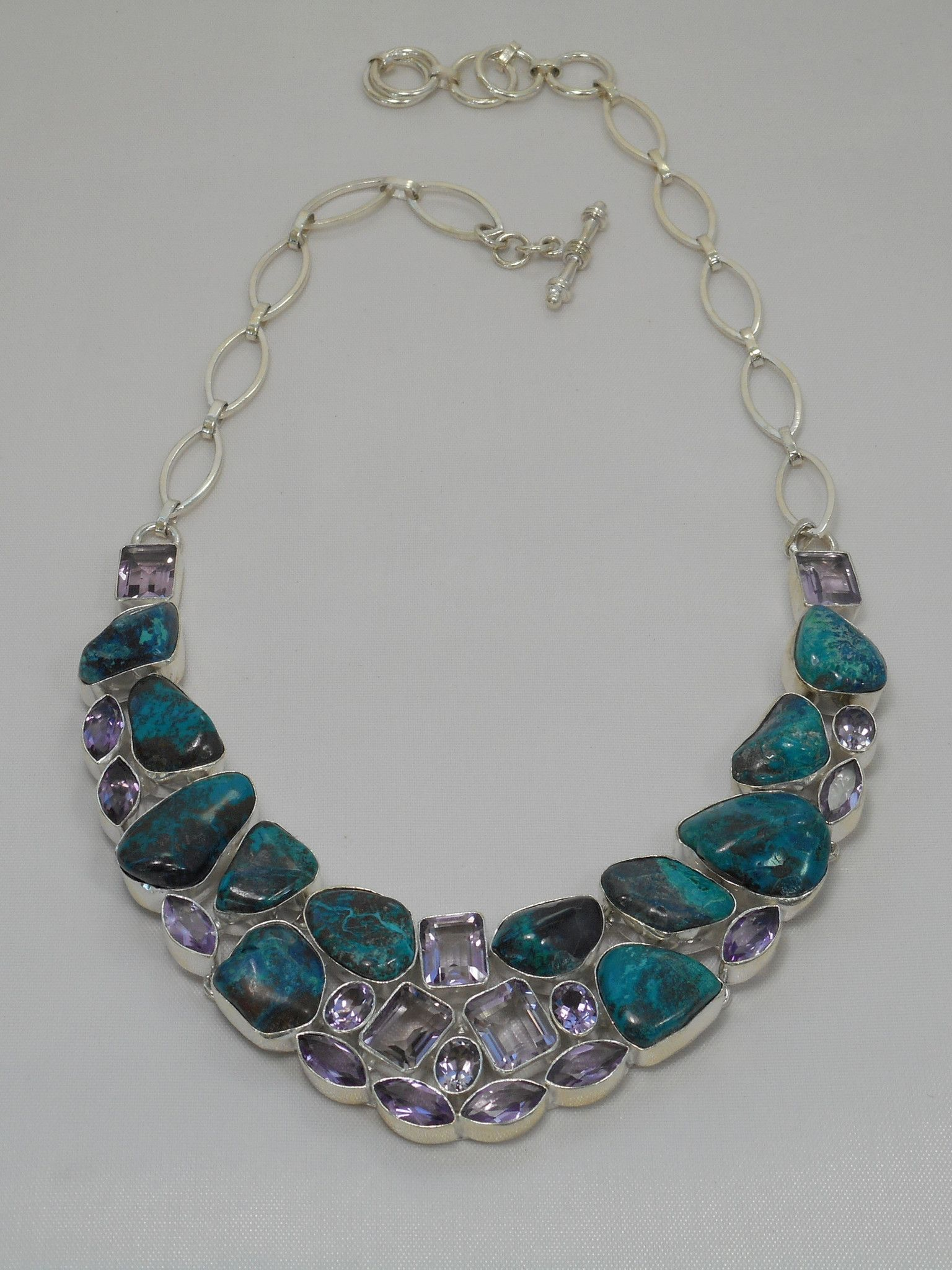 Chrysicolla Gemstones Necklace 1 with Amethyst