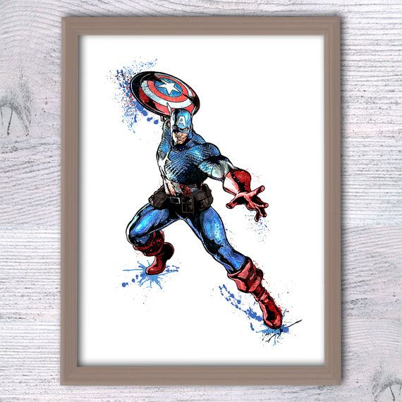 Captain America Wall Art captain america watercolor print marvel superhero poster kids room